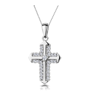 Chic Diamond Cluster Cross Necklace in 9K White Gold