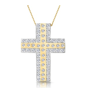 0.45ct Pave and Inlaid Diamond Cross Necklace in 9K Gold