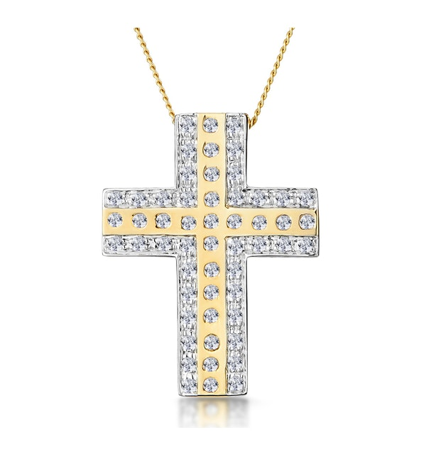 0.45ct Pave and Inlaid Diamond Cross Necklace in 9K Gold - image 1