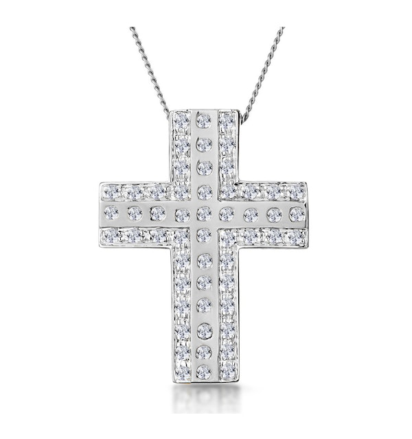 0.45ct Pave and Inlaid Diamond Cross Necklace in 9K White Gold - image 1