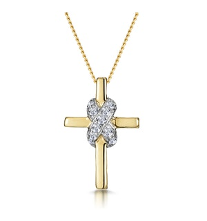 0.13ct Diamond Bonded Design Cross Necklace in 9K Gold