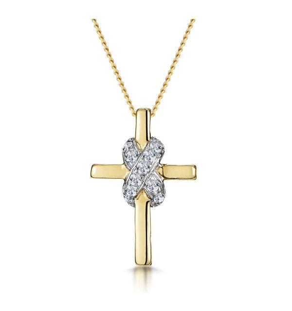 0.13ct Diamond Bonded Design Cross Necklace in 9K Gold - image 1