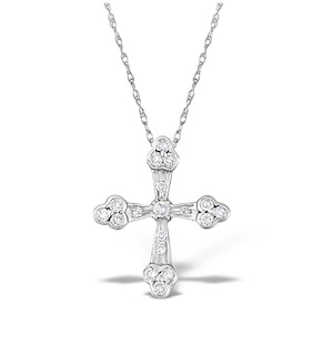 9K White Gold Diamond Cross Design Pendant