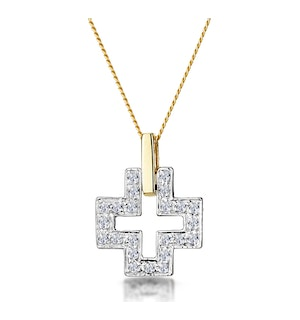 0.19ct Diamond Pave Cross Necklace in 9K Gold