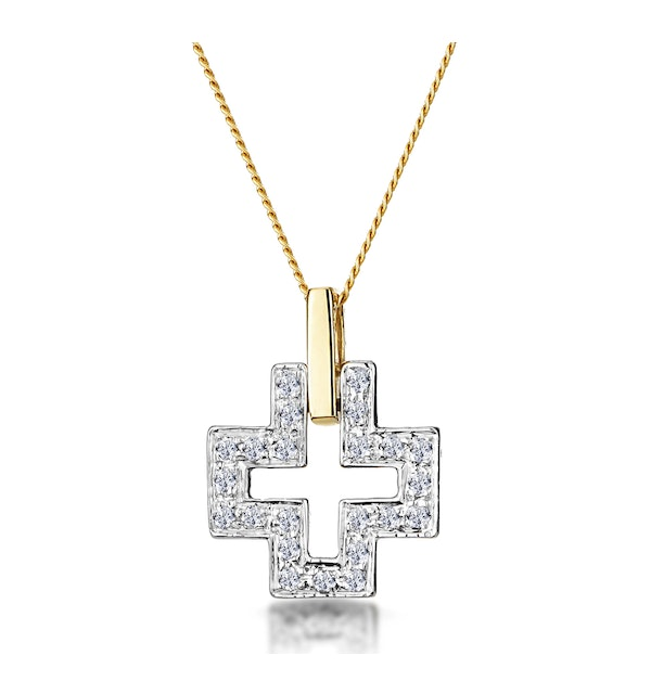 0.19ct Diamond Pave Cross Necklace in 9K Gold - image 1