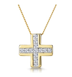 0.21ct Diamond Pave Inlaid Cross Necklace in 9K Gold