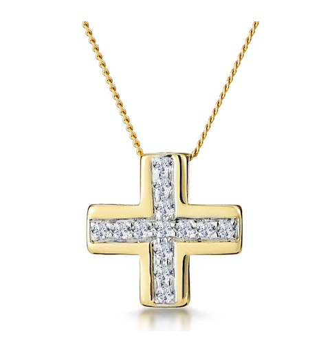 0.21ct Diamond Pave Inlaid Cross Necklace in 9K Gold - image 1