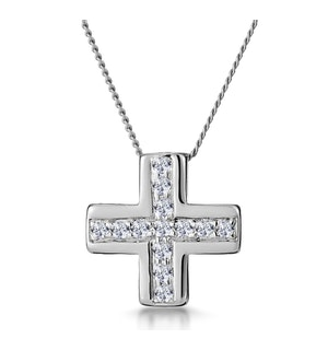 0.21ct Diamond Pave Inlaid Cross Necklace in 9K White Gold