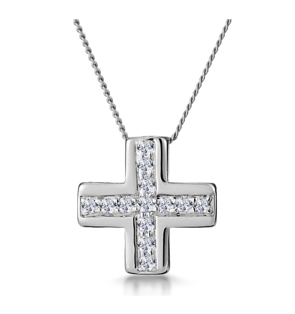 0.21ct Diamond Pave Inlaid Cross Necklace in 9K White Gold - image 1