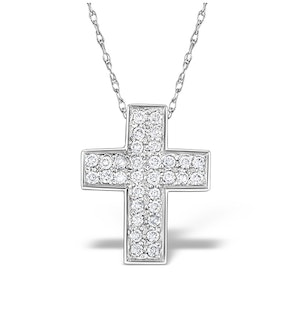 9K White Gold Diamond Cross Pendant with Star Detail(0.22ct)