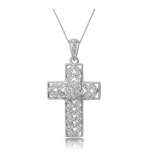 Diamond Pave Filigree Cross Necklace in 9K White Gold