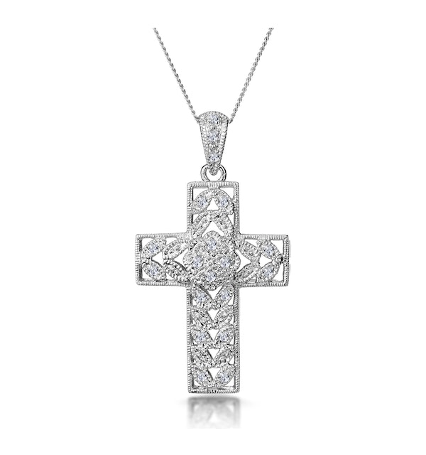 Diamond Pave Filigree Cross Necklace in 9K White Gold - image 1