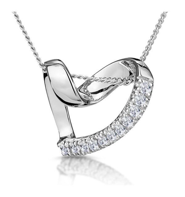 Heart Pendant Necklace 0.10ct Diamond 9K White Gold - image 1