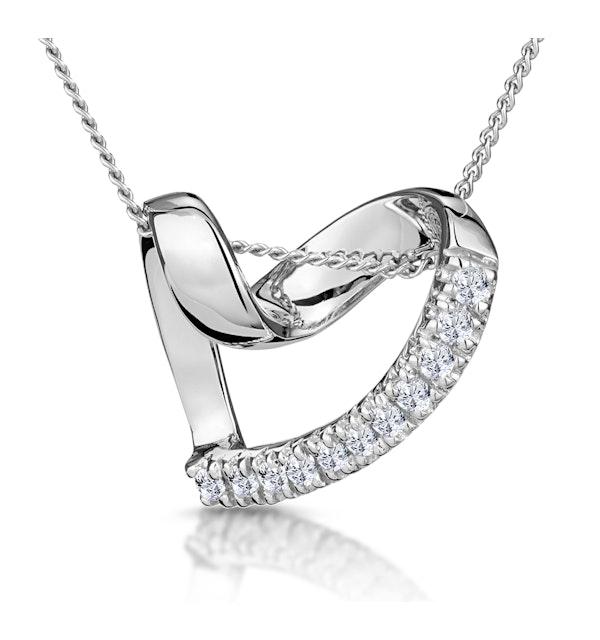 Heart Pendant 0.10ct Diamond 9K White Gold - image 1