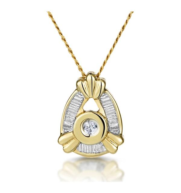 9K Gold Baguette Diamond Pendant (0.17ct) - image 1