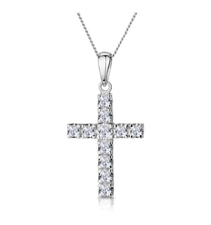 Diamond Cross Necklace 0.46ct in 9K White Gold