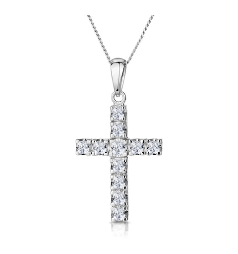 Diamond Cross Necklace 0.46ct in 9K White Gold - image 1