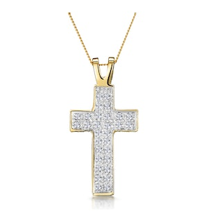 Half Carat Diamond Pave Cross Necklace in 9K Gold