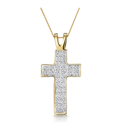 Half Carat Diamond Pave Cross Necklace in 9K Gold - image 1