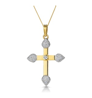 0.15ct Diamond Pave and Inlaid Cross Necklace in 9K Gold