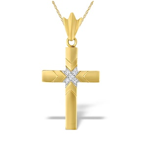 9K Gold Diamond Cross Pendant with Centre Detail