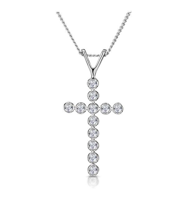 Cross Pendant Necklace 0.12CT Diamond 9K White Gold - image 1