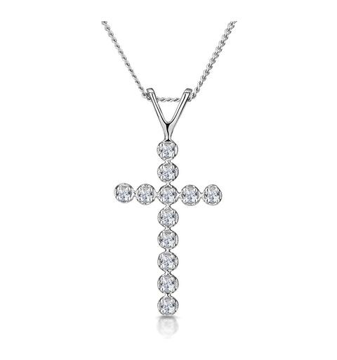 Cross Pendant 0.12CT Diamond 9K White Gold - image 1