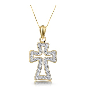 Half Carat Diamond Cross Outline Pendant in 9K Gold