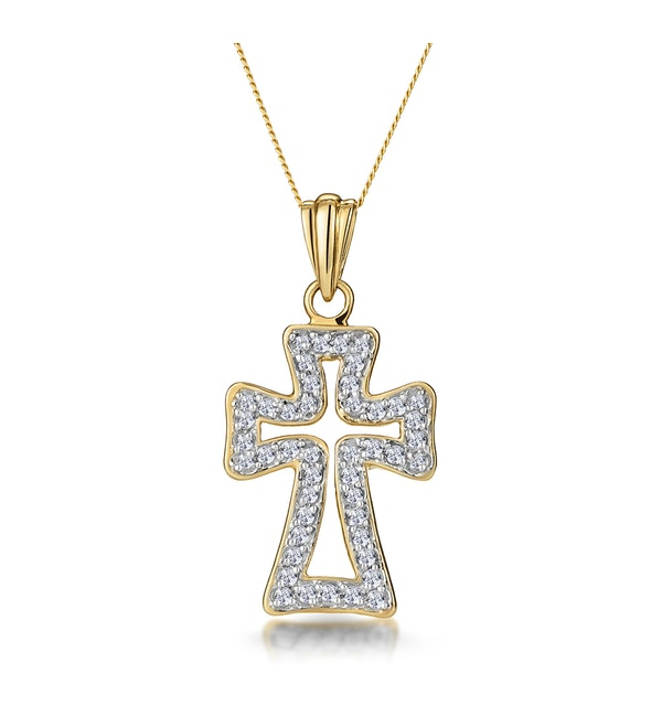 Half Carat Diamond Cross Outline Pendant in 9K Gold - image 1