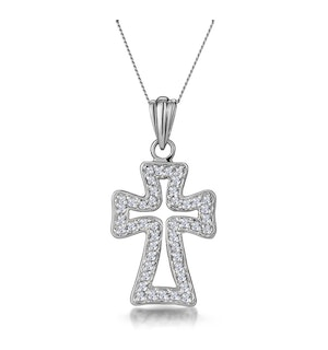 Half Carat Diamond Cross Outline Pendant in 9K White Gold