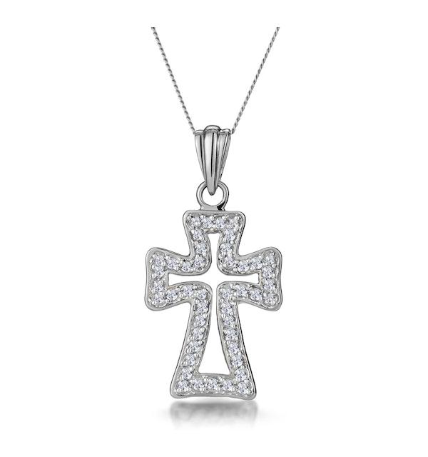 Half Carat Diamond Cross Outline Pendant in 9K White Gold - image 1