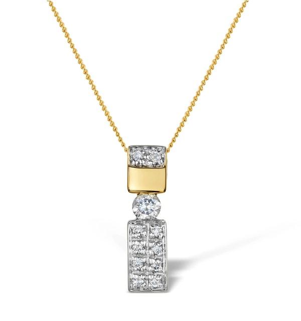 Diamond 0.24ct 9K Gold Single Stone Pendant - RTC-G3674 - image 1