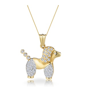 0.60ct Diamond Pave and Inlaid Poodle Necklace in 9K Gold