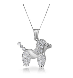 0.60ct Diamond Pave and Inlaid Poodle Necklace in 9K White Gold