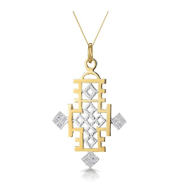 Diamond Ethiopian Straight Edge Cross Necklace in 9K Gold - image 1