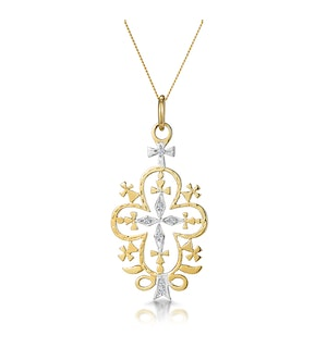 Diamond Ethiopian Curved Edge Cross Necklace in 9K Gold