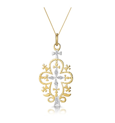 Diamond Ethiopian Curved Edge Cross Necklace in 9K Gold - image 1