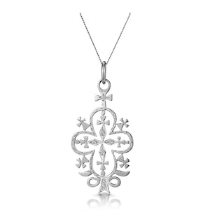 Diamond Ethiopian Curved Edge Cross Necklace in 9K White Gold