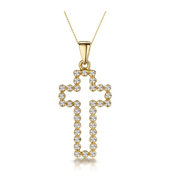 Half Carat Diamond Cross Outline Necklace in 9K Gold - image 1