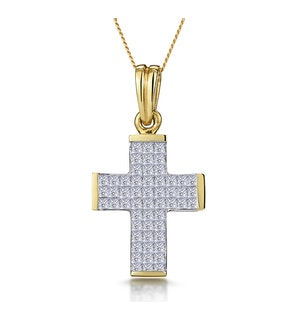 1 Carat Large Princess Diamond Cross Necklace in 9K Gold