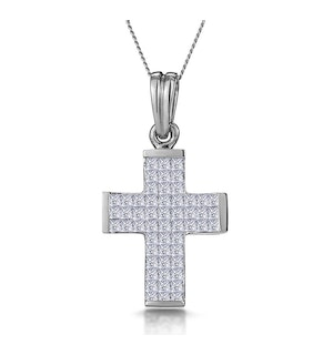 1 Carat Large Princess Diamond Cross Necklace in 9K White Gold