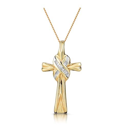 Diamond Baguette Bonded Cross Necklace in 9K White Gold - image 1