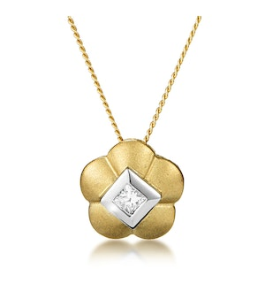 Diamond Centre Flower Slider Necklace in 9K Gold