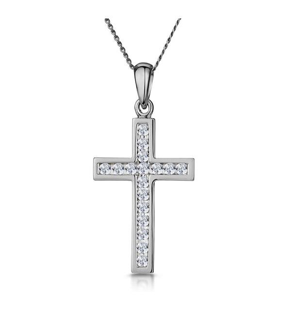 Cross Pendant Necklace 0.25CT Diamond in 9K White Gold - image 1