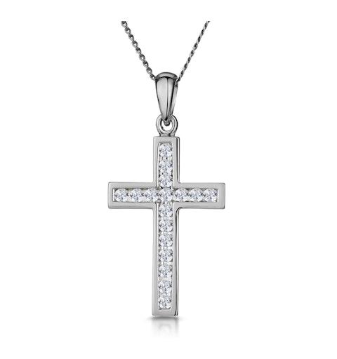 Cross Pendant 0.25CT Diamond in 9K White Gold - image 1