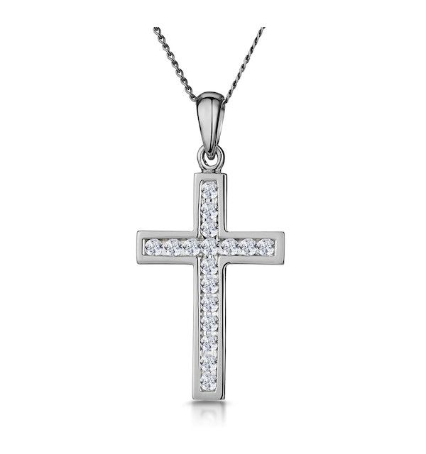 Cross Pendant 0.25CT Diamond in 9K White Gold - image 1
