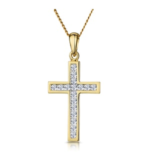 Cross Pendant Necklace 0.25CT Diamond 9K Yellow Gold W13 x L20mm