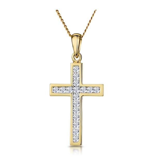 Cross Pendant Necklace 0.25CT Diamond 9K Yellow Gold W13 x L20mm - image 1