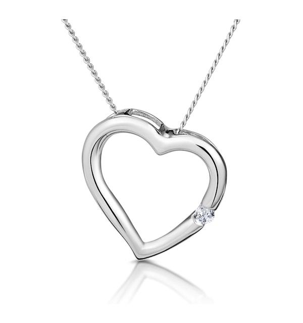 Heart Pendant Necklace 0.03ct Diamond 18K White Gold - image 1
