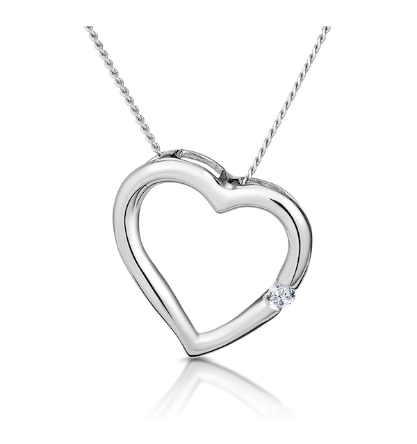 Diamond Heart Pendant 0.03ct 9K White Gold - image 1